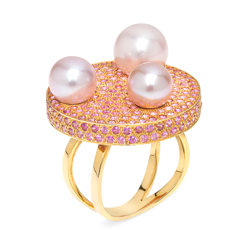 Disc-ring-pink-sapphires-fancy-pearls-18k-gold