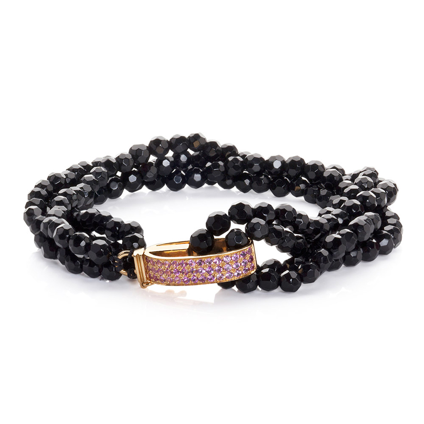 Dream bracelet pink sapphires onyx beads 18k gold
