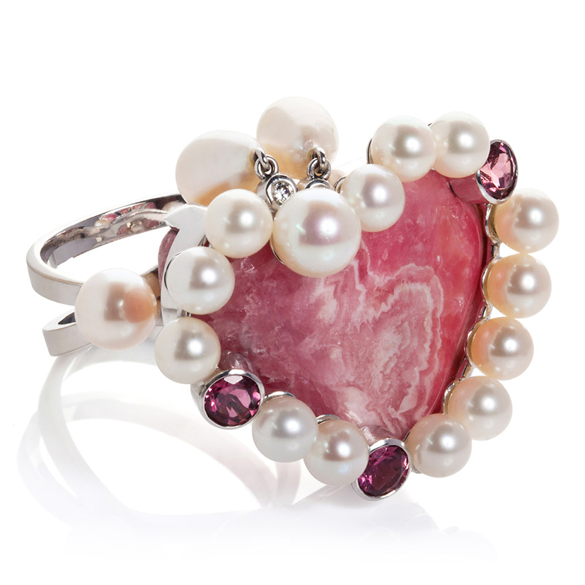 Rhodochrosite rubellite tourmaline-diamonds pearls 18k gold