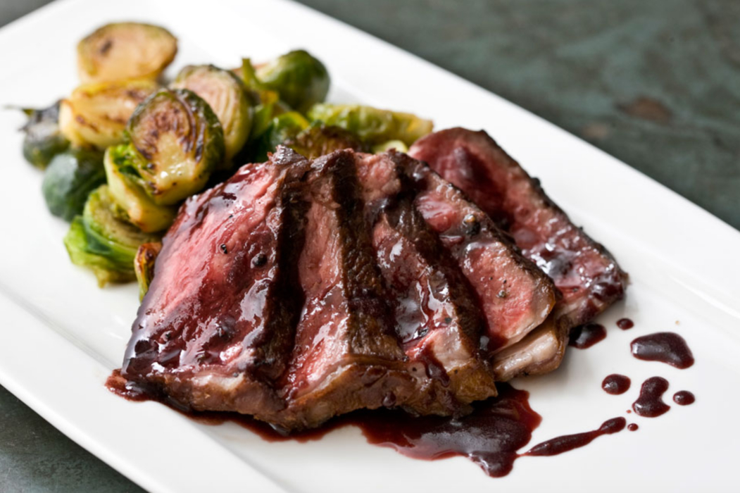 Grilled New York Strip with Caramelized Brussels Sprouts.