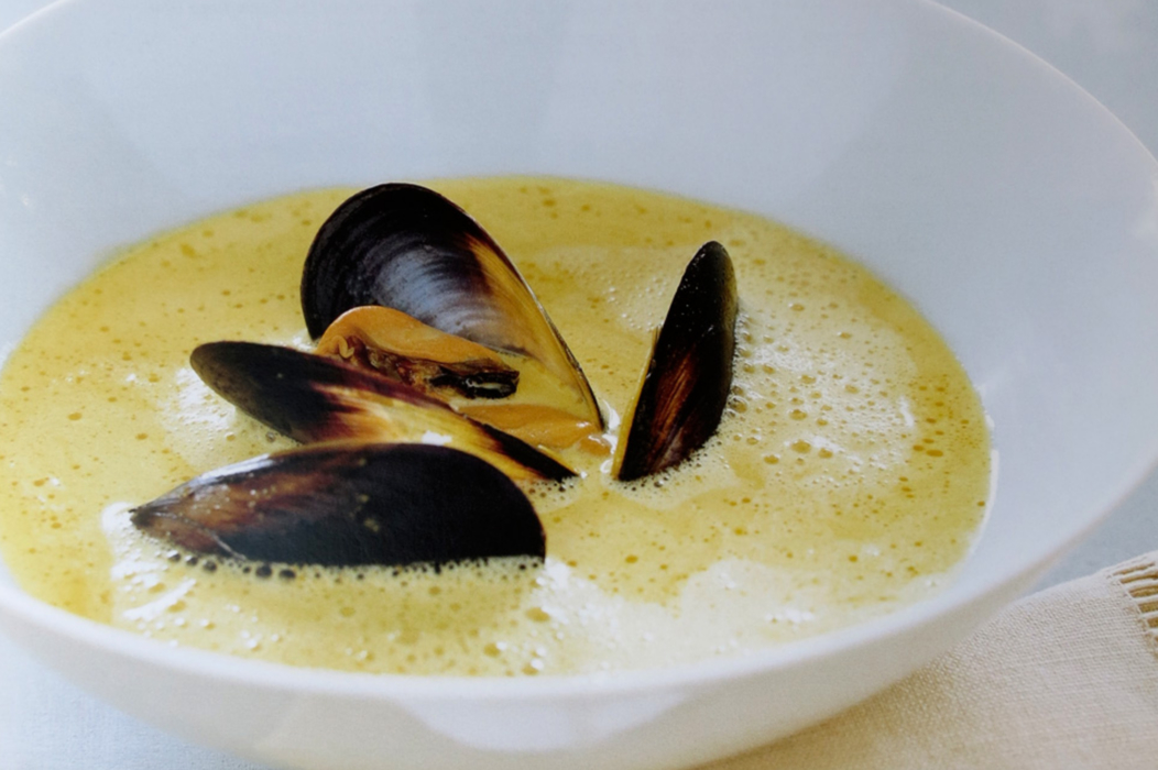 Spiced Mussel and Saffron Soup.