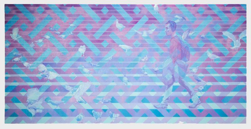 21 [Andy Akiho] Oil on Linen, 36in x 72in © 2020 Jakob Bokulich