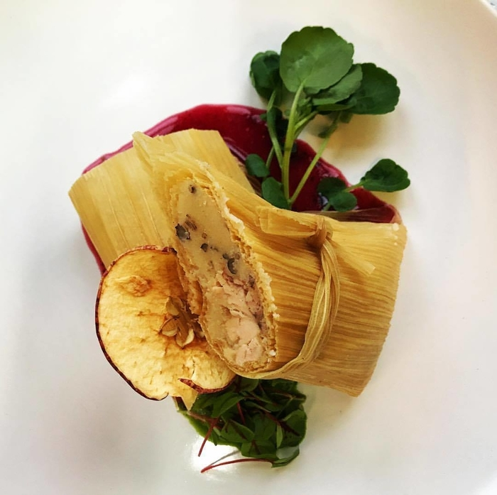 Blossom Moon Dinner Course Three: Rabbit Tamale • Dried Apple Crisp • Blood Sorrel • Mixed Berry Wojapi